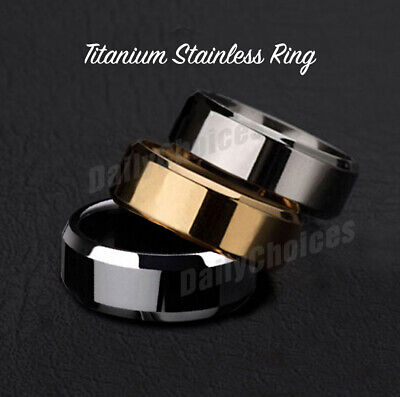 Mens Titanium Stainless Steel Ring Promise Engagement Wedding Ring Band Size8-11 2