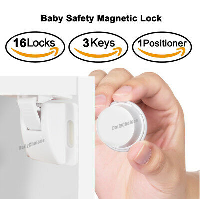 16 Sets Magnetic Cupboard Cabinet Drawer Safety Lock Latch Kids Proof AU 2