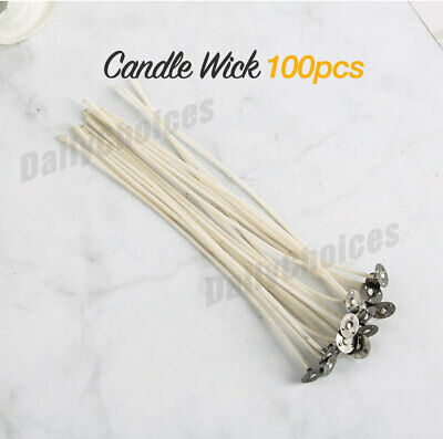 100pcs Candle Wicks Low Smoke Pre Waxed Wick with Tabs Sustainers Cotton Core AU 2