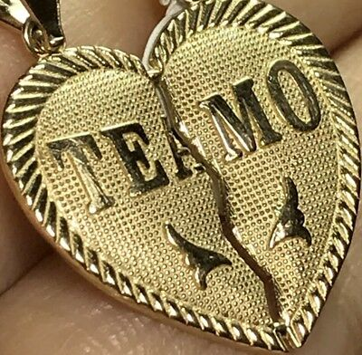 "GOLD TE AMO TeAmo Pendant 14k  Heart Broken Yellow Charm 2 Pc Split 1.05"" 2.5g 11"