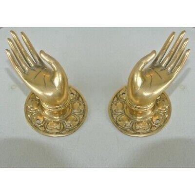 "2 Polished handle hand 100% brass door old style knob hook 2.1/4 ""buddha 4"