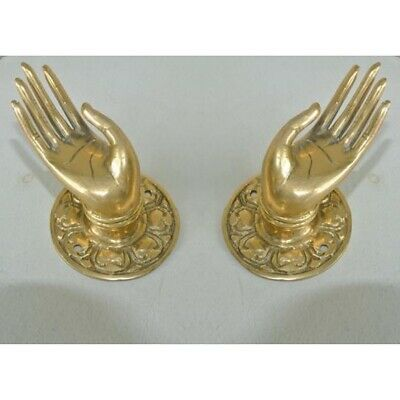 "2 small Polished Handle Hook hand solid brass door  knob hook 2.1/4 ""buddha B 7"