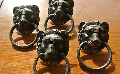 "4 PULLS handles Small heavy LION SOLID BRASS old style screws house antiques 2"" 3"