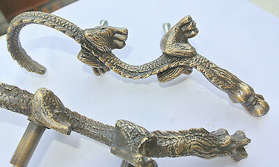 """2 Handles door DRAGON solid heavy BRASS old style vintage L& R drawer PULLS 6"""" B 2"""