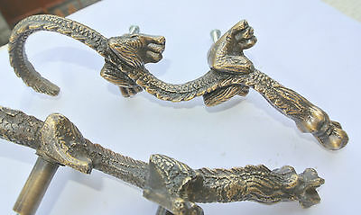 "2 Handles door DRAGON solid BRASS old style vintage L& R drawer PULLS 6"" pair B 2"