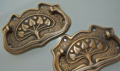 8 large DECO cabinet handles solid brass furniture antiques age old style 11cmB 5