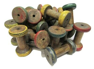 "Lot of 6 Antique Vintage 3"" Painted Wooden Industrial Textile Bobbins Spools 4"