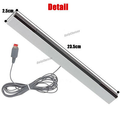 Wired Infrared Ray Sensor Bar/Receiver for Nintendo Wii U Black with Silver AU 12