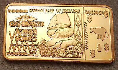 100 Trillion Dollar Zimbabwe Gold Bar Bank Note Money African Bullion LOL Joke 2