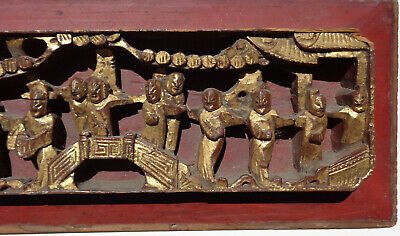 Antique CHINESE figural HIGH RELIEF wood PANEL gold RED 25 inches 8