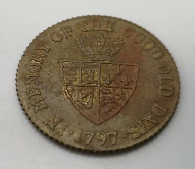 1797 Token Old Coin British Gold Lustre King George Unusual Shield Find Antique 2