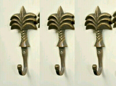 "6 small PALM BRASS HOOK COAT WALL MOUNTED HANG TROPICAL old style hook 4"" B 8"
