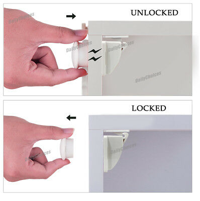 16 Sets Magnetic Cupboard Cabinet Drawer Safety Lock Latch Kids Proof AU 4