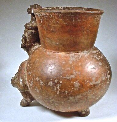 Pre-Columbian MIXTEC FIGURAL JAR W/DOG HEAD HEADDRESS COA 4