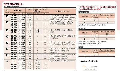 Mitutoyo 516-103-10 Steel Micrometer Inspection Gauge Block Set, 10 Blocks 2