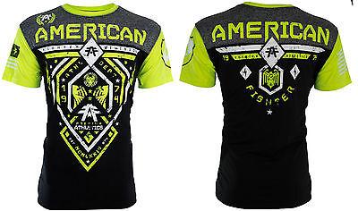 AMERICAN FIGHTER Mens T-Shirt FAIRBANKS Athletic BLACK NEON GREEN Biker UFC $40 3