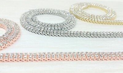 7153d4d60dfdad ... 14k Rose Gold Tennis Chain 2 ROW Lab Diamond Iced Out Silver Hip Hop  Necklace 6