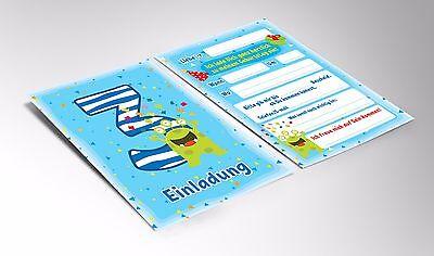 2 Von 3 Einladungskarten Einladungen Zum 3. Kindergeburtstag Junge Mädchen  MONSTER