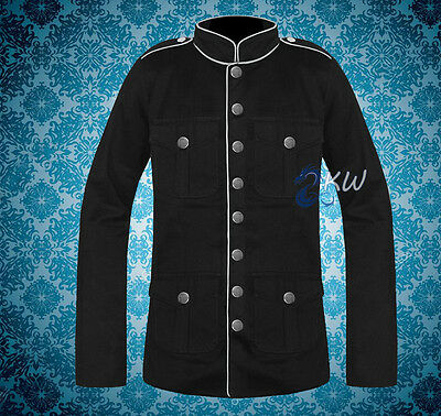 Men/'s Military Jacket Black White /& Red Goth Steampunk Army Officer Pea Coat
