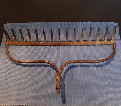Vtg Rusty Garden Rake Head Jewelry ~ Winge Glasses ~Collectibles ~15 Tine Steam 5