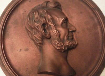 """Lincoln Cast Metal Plaque Compliments of Foster Merriam Co. Merriam CT  11 1/4"""" 2"""