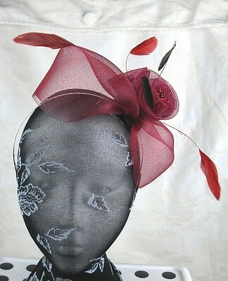 dark red feather headband fascinator millinery wedding ascot hat hair piece 2