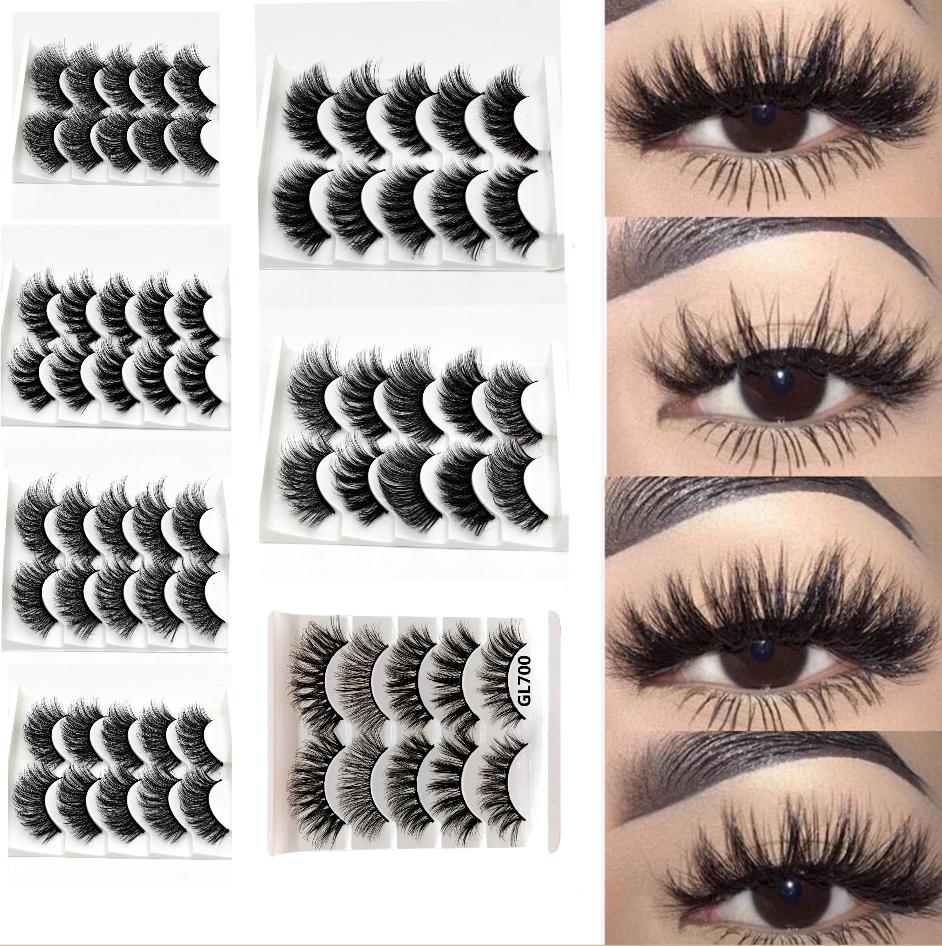 UK 5 Pairs 3D Fake Eyelashes Long Thick Natural False Eye Lashes Set Mink Makeup 3