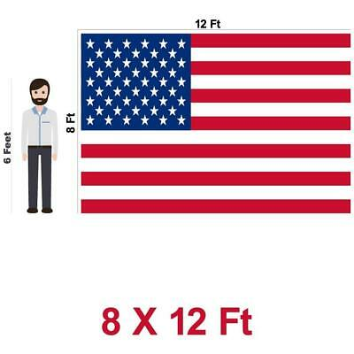 8'x12' ft American Flag US USA | EMBROIDERED Stars, Sewn Stripes, Brass Grommets 8