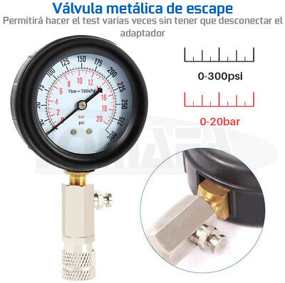 Compresimetro Gasolina 8 Pzas Medidor De Compresion Con Adaptadores + Linterna 5