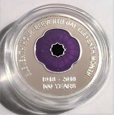 """2018 """"Animals Armistice"""" 1/10th OZ 999 Pure Silver Coin, C.O.A. Purple Poppy. 3"""