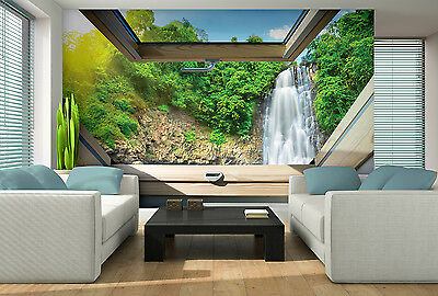 vlies fototapeten fototapete tapete wasserfall natur fenster blick 3fx10394ve eur 1 00. Black Bedroom Furniture Sets. Home Design Ideas