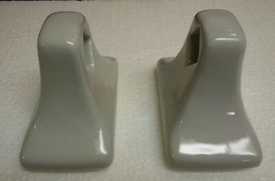MID CENTURY MODERN Vintage Silver Grey Gray Ceramic Bath Retro Towel Bar Holders