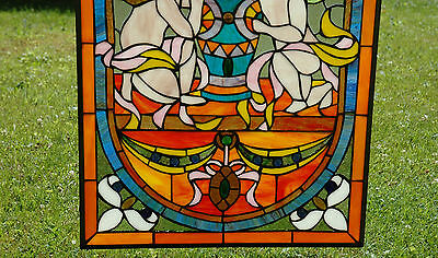 """20"""" x 34"""" Tiffany Style stained glass window panel Jeweled two angel 4"""