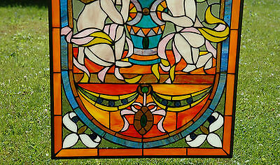 """20"""" x 34""""  two baby angel Tiffany Style stained glass Jeweled window panel 4"""