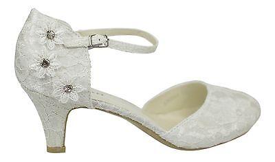f8cb25a0c7b IVORY SATIN & Lace Low Heel Corsage Mary Jane Bridal Wedding Shoes Size 3 -  9 Uk
