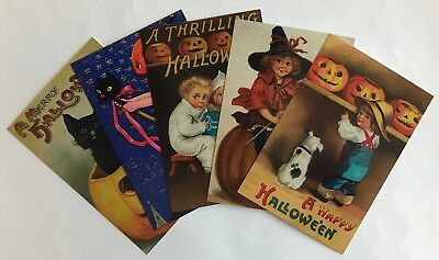 25 Halloween Postcards NEW Vintage Reproduction Lot 5 Designs Black Cat Witch 2
