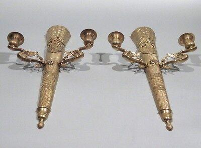 Large Vintage FrenchEmpire Bronze Sconces, Napoleon, Quiver,Eagle, Lion & Swan 4