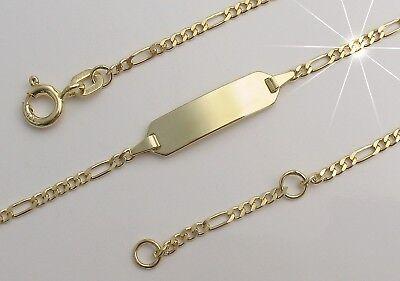 Baby Taufe Ident Gravur Baby Armband mit Namen Datum Echt Silber 925 vergoldet