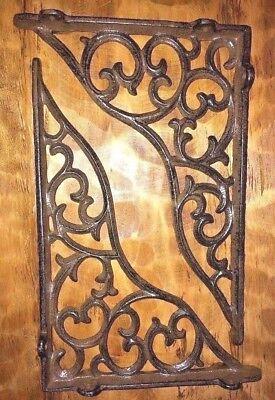 "SET OF 2 LARGE VICTORIAN VINE SHELF BRACKET BRACE Antique Brown Cast Iron 11"" 4"