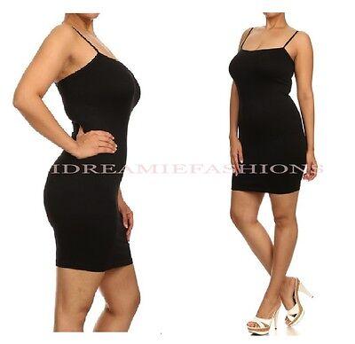 Women Seamless Club Stretch Camisole Slimming Bodycon Cami Dress Slip Shape Wear