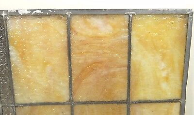 GEOMETRIC RECTANGULAR LEADED-STAINED GLASS WINDOW~Art Deco 22x15~HEAVY OBSCURITY 5