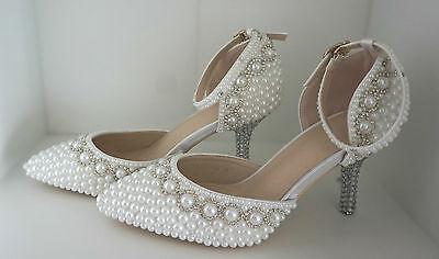 99068f614d75 11 von 12 Pumps weiß Perlen Hochzeit High Heels Schuhe Brautschuhe Braut  Damenschuhe