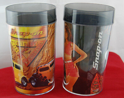 Advertising Snap On Tools Calendar Girls Plastic Tumblers Mugs Vintage 1992 Set Of 2