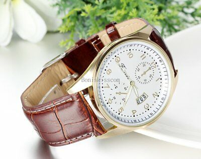 Leather Band Round Quartz Analog Elegant Classic Casual Men's Wrist Watch New 6