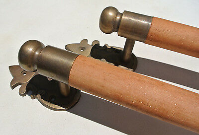 """pair DOOR handle pull solid brass ends wooden old vintage asian style 13"""" raw B 2"""