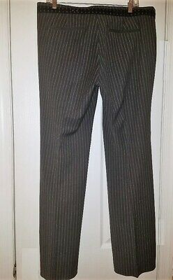 NWOT Old Navy Black Gray Pinstripe Wide/Straight Leg Career Stretch Pants Sz 12 3
