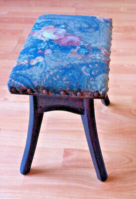 Antique footstool small dark solid oak milking stool side table ebony vintage 2