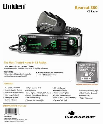 a9d7dabcf54c2 UNIDEN BEARCAT 880 40-Channel CB Radio with 7-Color Digital Display