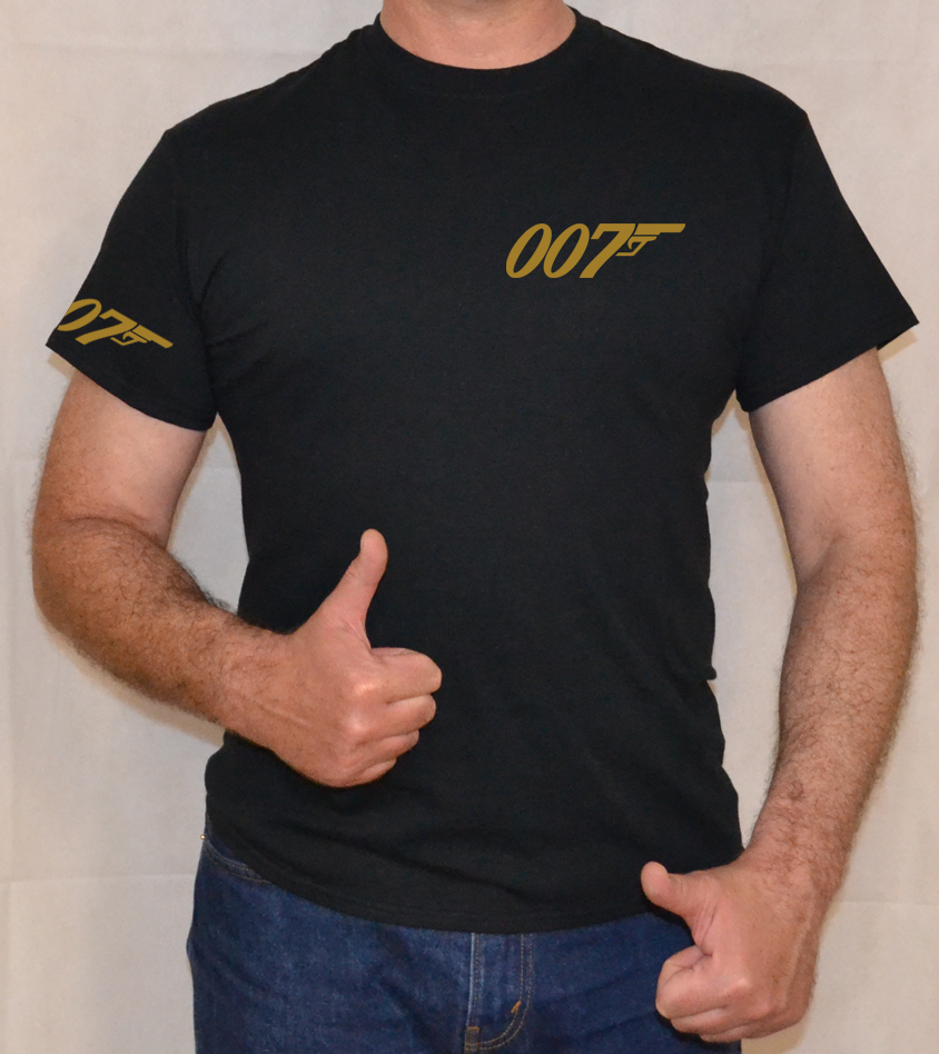007,james Bond,gold Logo,fun,t Shirt 2