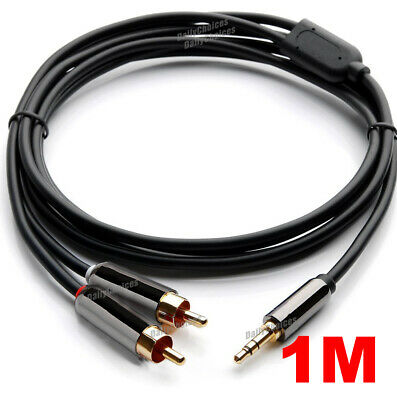 Premium Stereo Audio 3.5mm Aux Jack to 2 RCA M/M Y Cable Gold Plated 1m~5m au 7